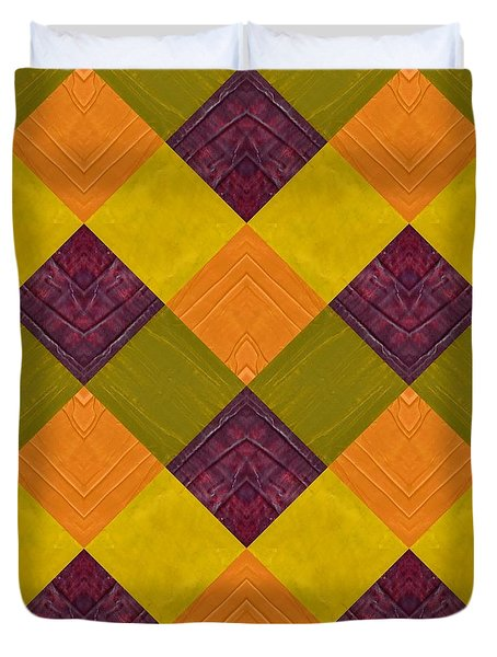 Gold And Green With Orange 2.0 Duvet Cover by Michelle Calkins