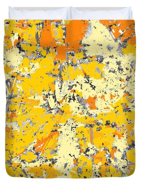 Gold And Orange Grunge Duvet Cover