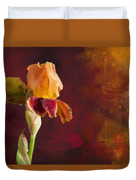 Gold And Red Iris Duvet Cover