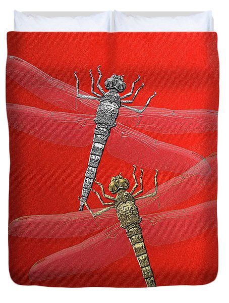 Duvet Cover featuring the digital art Gold And Silver Dragonflies On Red Canvas by Serge Averbukh