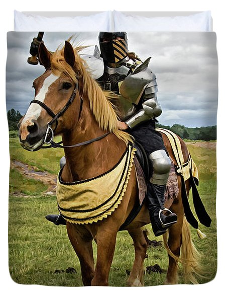 Gold And Silver Knight Duvet Cover