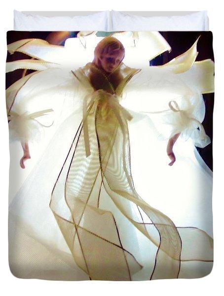 Gold And White Angel Duvet Cover