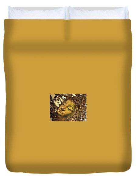 Duvet Cover featuring the painting Gold Buddha Head by Chonkhet Phanwichien