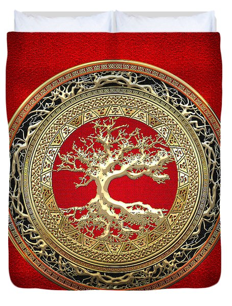Gold Celtic Tree Of Life On Red Duvet Cover