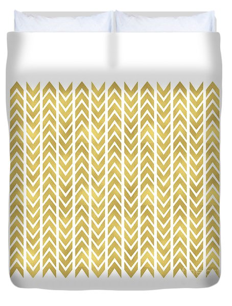 Gold Chevron Pattern Duvet Cover