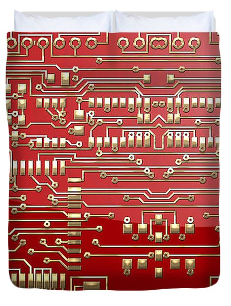 Gold Circuitry On Red Duvet Cover by Serge Averbukh