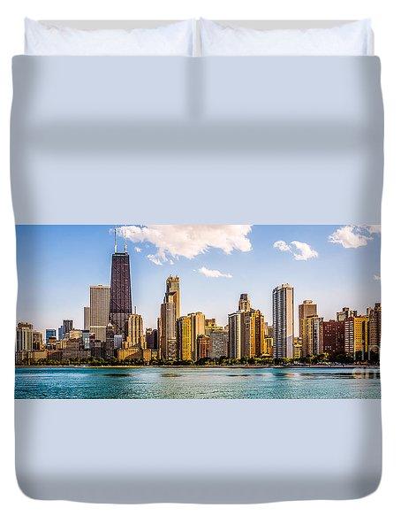 Gold Coast Chicago Skyline Panorama Duvet Cover by Paul Velgos