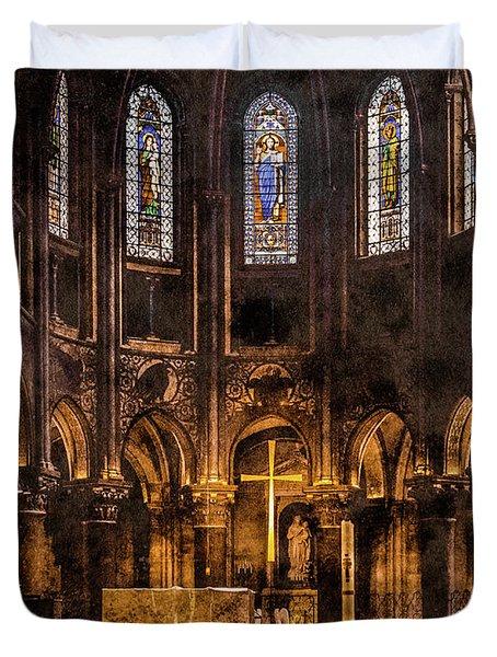 Paris, France - Gold Cross - St Germain Des Pres Duvet Cover