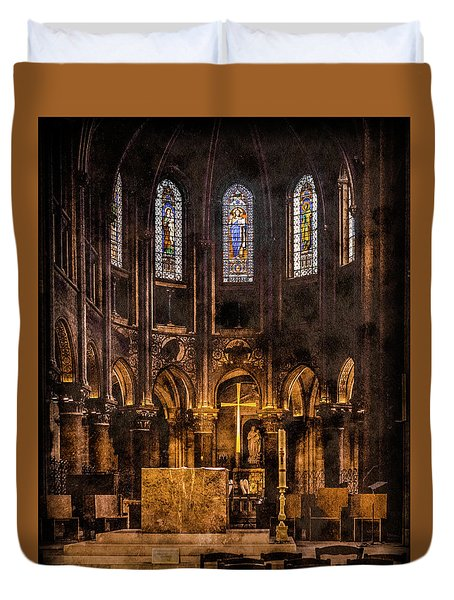 Paris, France - Gold Cross - St Germain Des Pres Duvet Cover