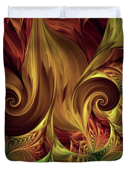 Gold Curl Duvet Cover by Deborah Benoit