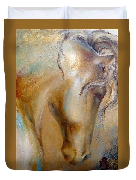Duvet Cover featuring the painting Gold Dust 1 by Dina Dargo