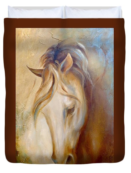 Duvet Cover featuring the painting Gold Dust 2 by Dina Dargo