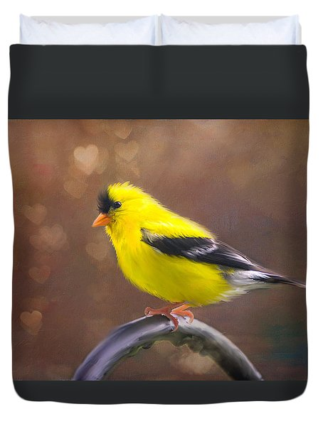 Duvet Cover featuring the photograph Gold Finch Love by Mary Timman
