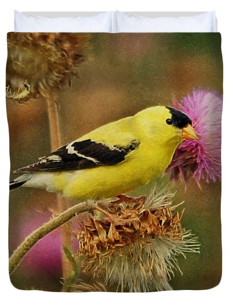 Goldfinch On Thistle Duvet Cover