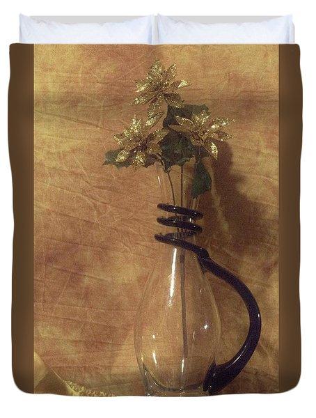 Gold Flower Vase Duvet Cover