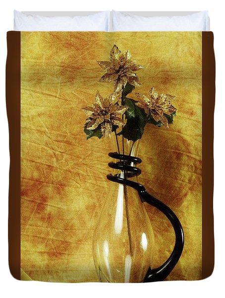 Gold Flowers In Vase Duvet Cover