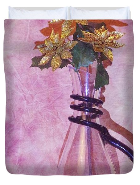 Gold Flowers Pink Background Duvet Cover