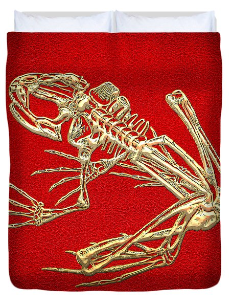 Gold Frog Skeleton On Red Leather Duvet Cover