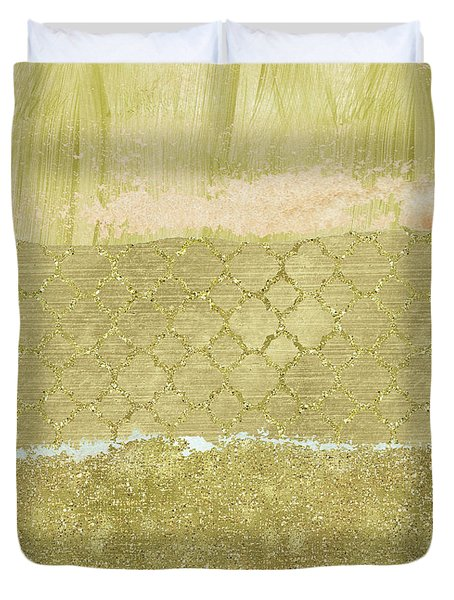 Gold Glam Pretty Abstract Duvet Cover