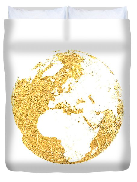 Gold Globe Duvet Cover