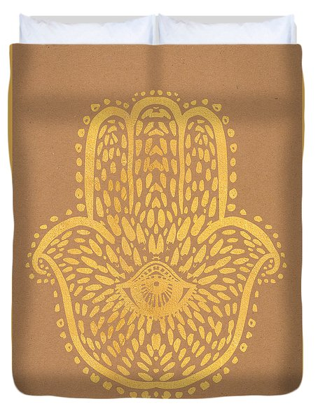 Gold Hamsa Hand On Brown Paper Duvet Cover