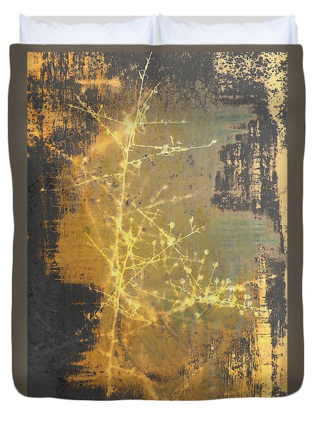 Gold Industrial Abstract Christmas Tree Duvet Cover by Suzanne Powers
