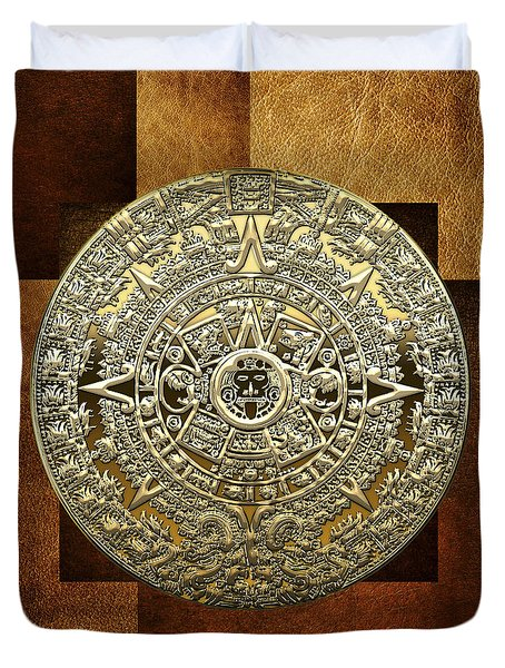 Gold Mayan-aztec Calendar On Brown Leather Duvet Cover