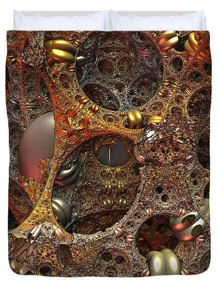 Duvet Cover featuring the digital art Gold Mine by Lyle Hatch