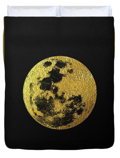 Duvet Cover featuring the digital art Gold Moon by Taylan Apukovska