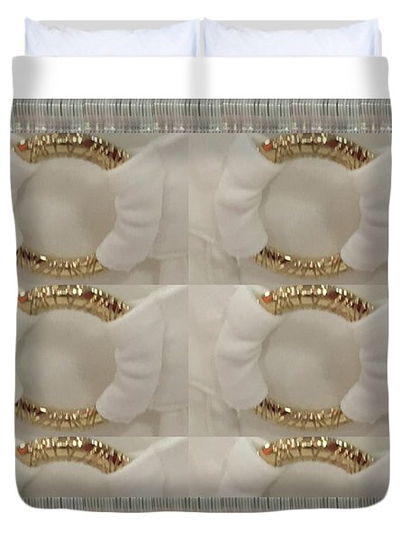 Duvet Cover featuring the photograph Gold N White Clothing Fabric Texture N Pattern Tshirts Pillows Towels Christmas Holidays Festivals  by Navin Joshi