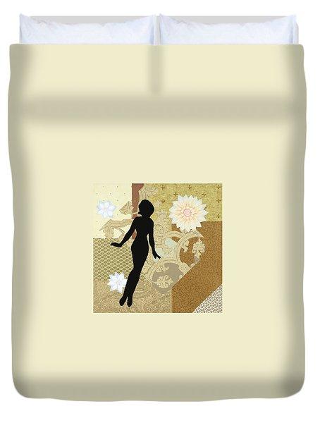 Gold Paper Doll Duvet Cover