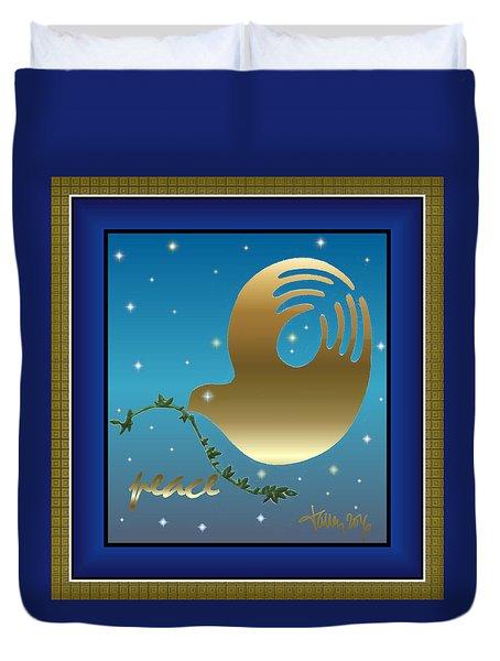 Gold Peace Dove Duvet Cover