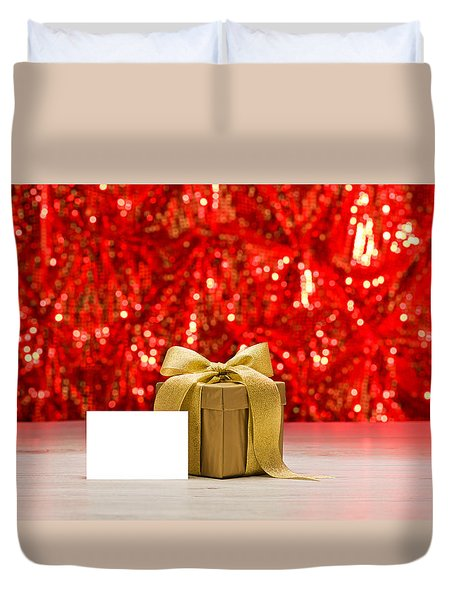 Duvet Cover featuring the photograph Gold Present With Place Card  by Ulrich Schade