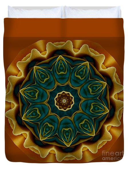 Gold Rose Mandala Duvet Cover