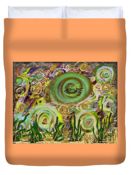 Gold Sand With Fish Illuminated Duvet Cover by Dan Twyman