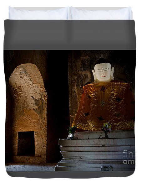 Duvet Cover featuring the photograph Gold Shrouded Buddha In Burma Basks In Natural Light By Temple Portal by Jason Rosette
