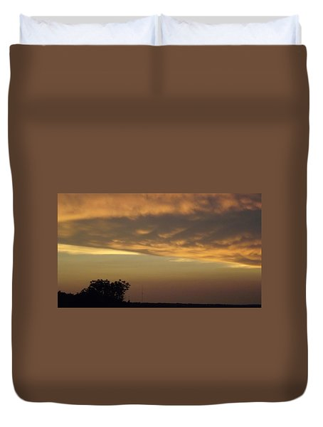 Gold Sky Over Lake Of The Ozarks Duvet Cover by Don Koester