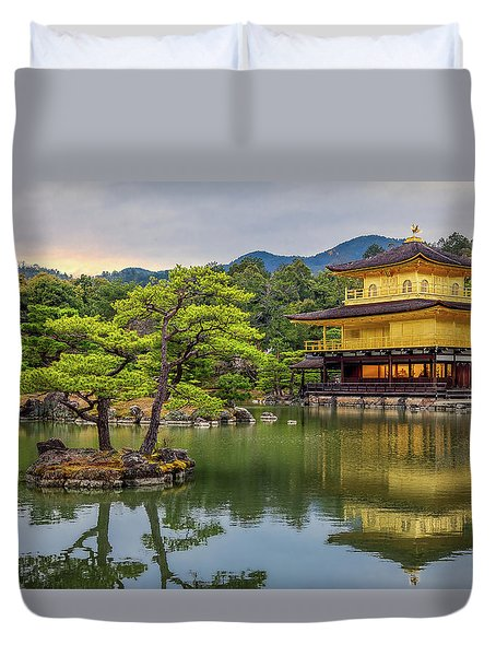 Duvet Cover featuring the photograph Gold Temple,  by Rikk Flohr