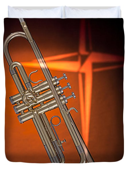 Gold Trumpet With Cross On Orange Duvet Cover