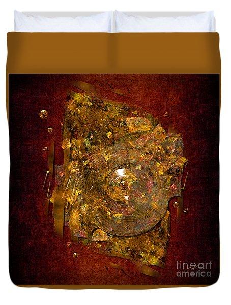 Duvet Cover featuring the digital art Golden Abstract by Alexa Szlavics