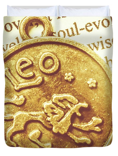 Golden Alignment In Leo Duvet Cover