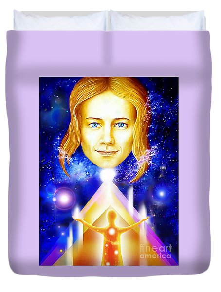 Duvet Cover featuring the painting Golden Angel by Hartmut Jager