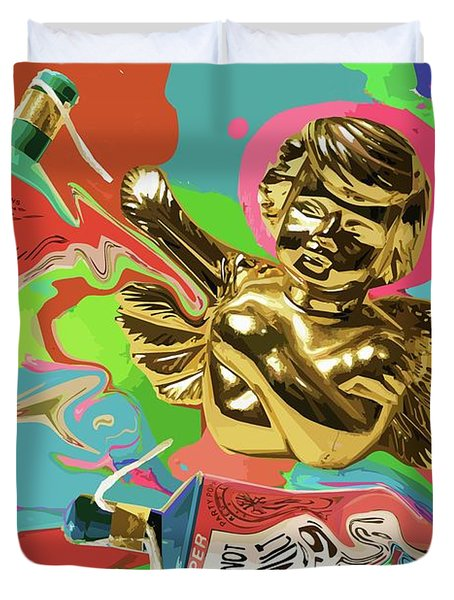 Golden Angel With Party Poppers Duvet Cover