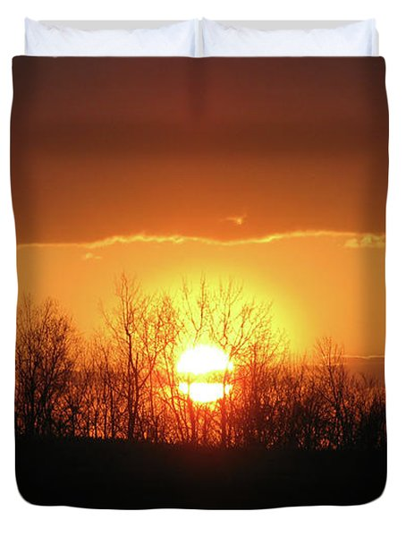 Duvet Cover featuring the photograph Golden Arch Sunset by Debra     Vatalaro
