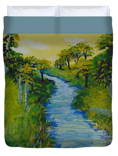 Duvet Cover featuring the painting Golden Aspens by Saundra Johnson