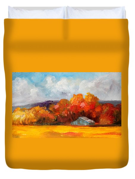 Golden Autumn Blue Country Horse Barn Duvet Cover by Michele Carter
