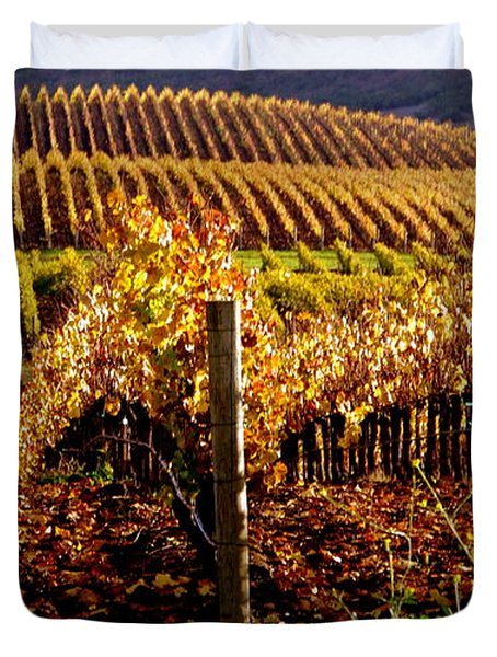 Golden Autumn Vineyard Duvet Cover