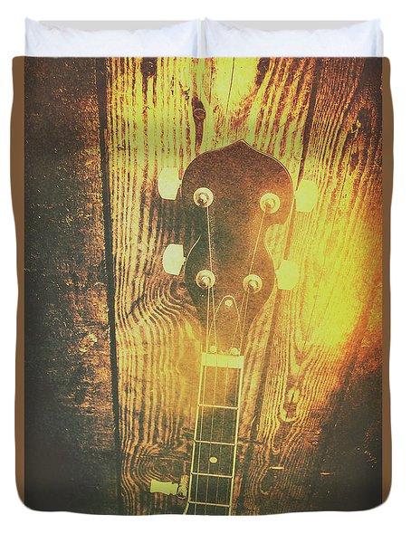Golden Banjo Neck In Retro Folk Style Duvet Cover by Jorgo Photography - Wall Art Gallery
