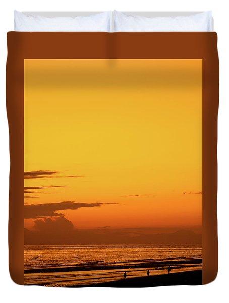 Golden Beach Sunset Duvet Cover
