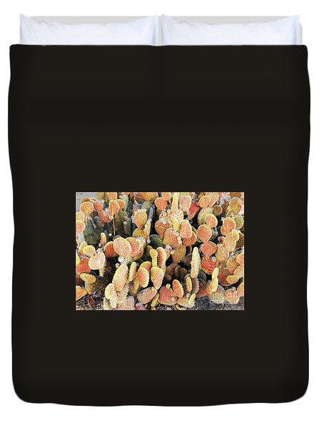 Duvet Cover featuring the photograph Golden Beaver Tail Catcus by Linda Phelps